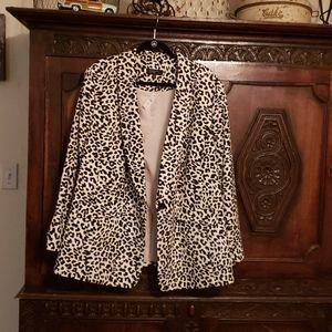 Talbots Long Linen-Blend Blazer Leopard Print